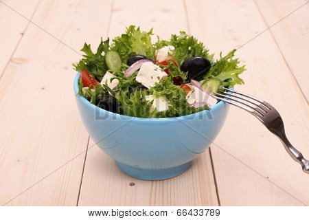 Greek Salad, Gigantic Black Olives, Sheeps Cheese