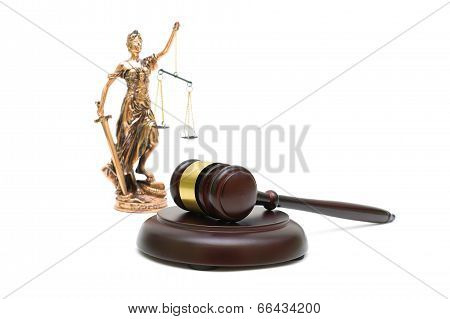 Judges Gavel And The Statue Of Justice On White Background