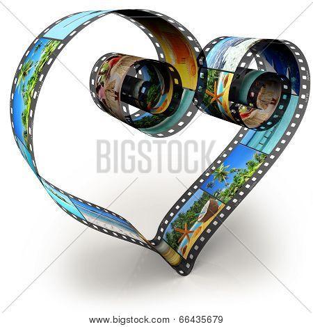filmstrip in shape of heart
