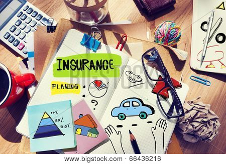 Note Pad and Insurance Concept