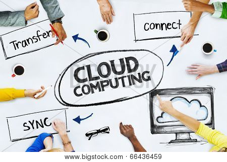 Business People Pointing to Cloud Computing Concepts