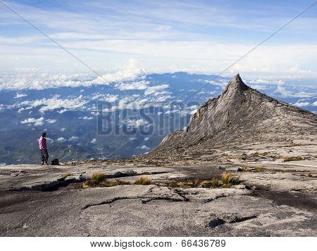 Hiker at the Top of Mount Kinabalu in Sabah, Malaysia