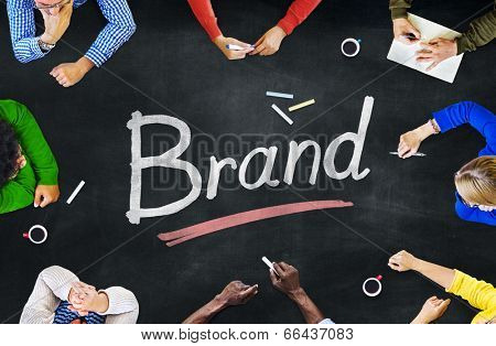 Multi-Ethnic Group of People and Brand Concept