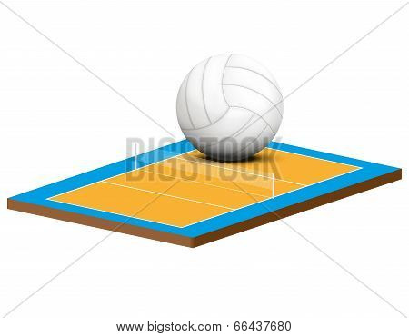 Symbol of a volleyball game and field.