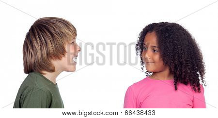 Boy talking with his friend, a beautiful african girl, isolated on a white background