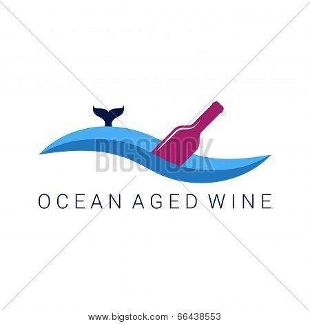 wine bottle wave design label illustration