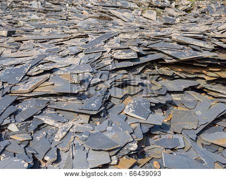 Slate waste heap from slate mine