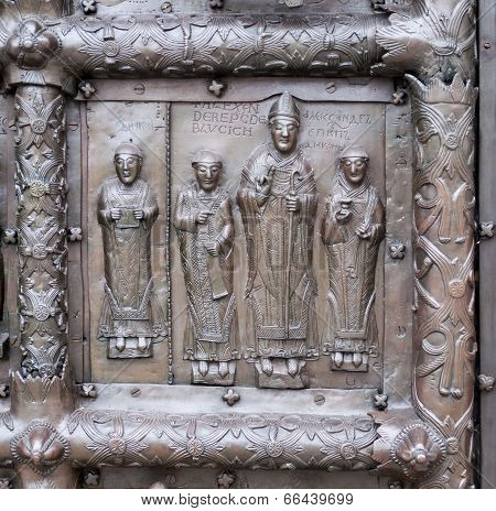 Bas-relief On Ancient Bronze Gate In Veliky Novgorod