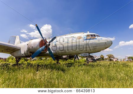 Samara, Russia - May 25, 2014: Old Russian Turboprop Aircraft Il-14M At An Abandoned Aerodrome In Su