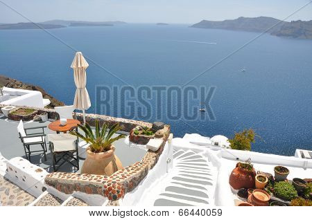 luxurious terrace with a view, santorin