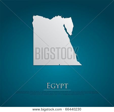 vector Egypt Map card paper on blue background, high detailed