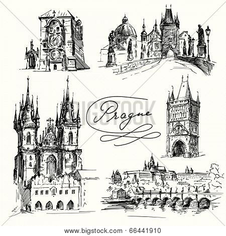 Prague - hand drawn collection