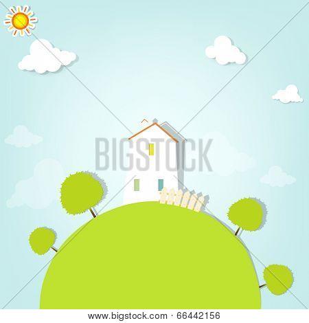 country house on hill with trees. flat paper illustration