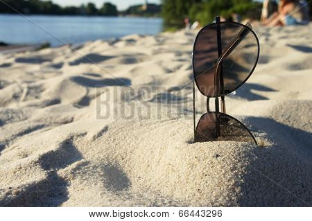 Female Sunglasses On The Beach, Sun And Sand