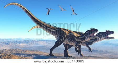 Allosaurus On Mountain