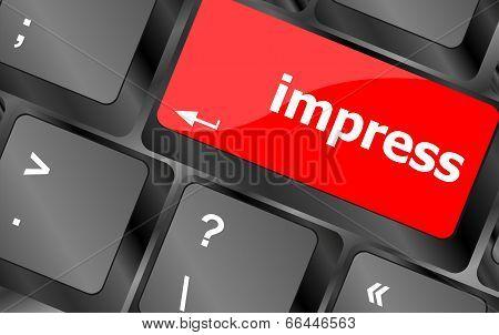 Impress Word On Computer Pc Keyboard Key
