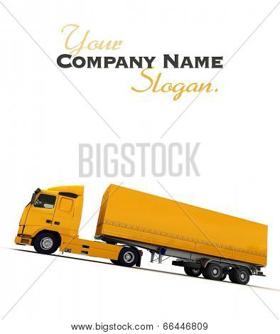 Lateral view of a big yellow truck against a white background