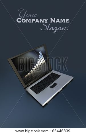 3D-rendering of an open laptop showing an abstract screen saver