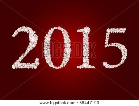 Vector diamond 2015 text on red background