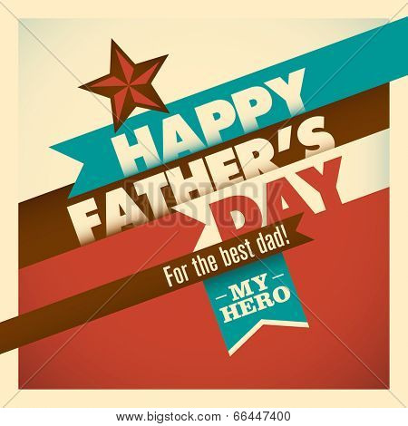 Illustration of retro father's day card in color. Vector illustration.