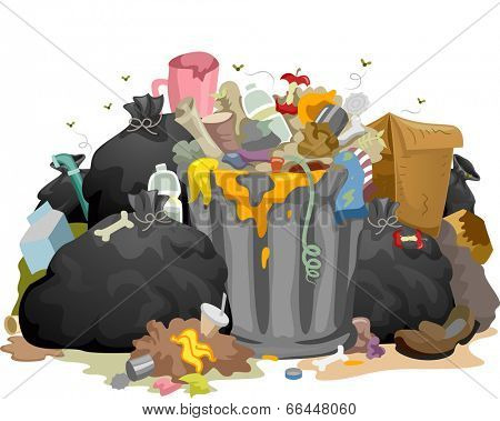 Illustration of a Pile of Decaying Garbage Left Lying Around