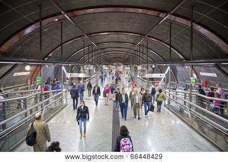 MADRID, SPAIN - MAY 28, 2014: Madrid tube station, train arriving on a platform