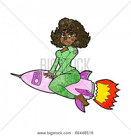 cartoon army pin up girl riding missile