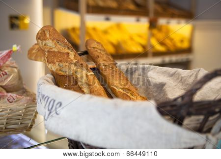 MADRID, SPAIN - MAY 28, 2014: Local Spanish teashop with fresh bread display