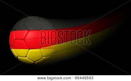 Soccer ball with German flag in motion on black