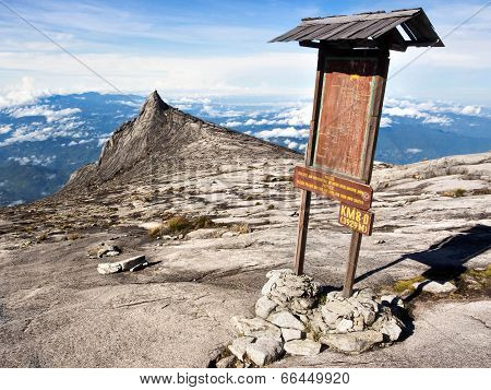 Checkpoint at the Top of Mount Kinabalu in Sabah, Malaysia