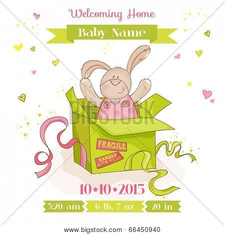 Baby Bunny in a Box - Baby Shower or Arrival Card - in vector