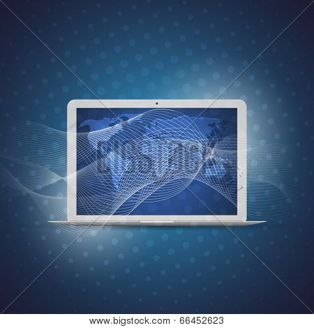 Cloud Computing and Networks Concept with Laptop Computer. Eps 10 Stock Vector Illustration