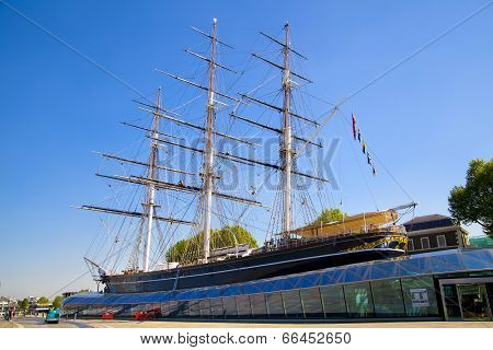 LONDON, UK - MAY 15, 2014: Greenwich, British Cutty Sark clipper ship on public display in Greenwich