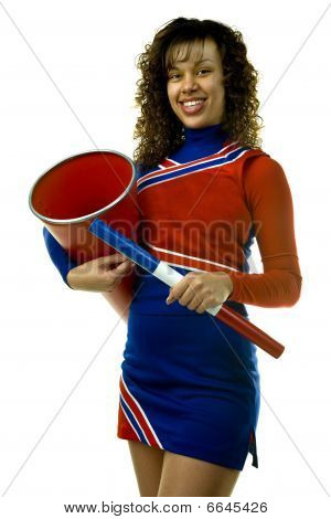 Cheerleader with Spirit Stick and Megaphone