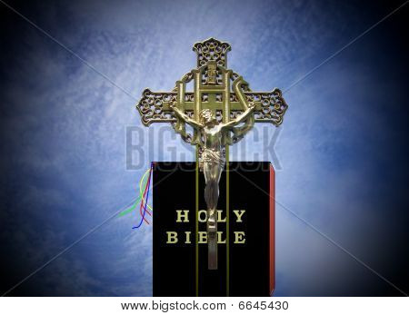 Jesus On Cross With Bible