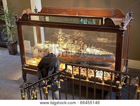 LONDON, UK - MAY 15, 2014: Royal navy museum in Greenwich. Model of Japanise battleship Yashima, bui