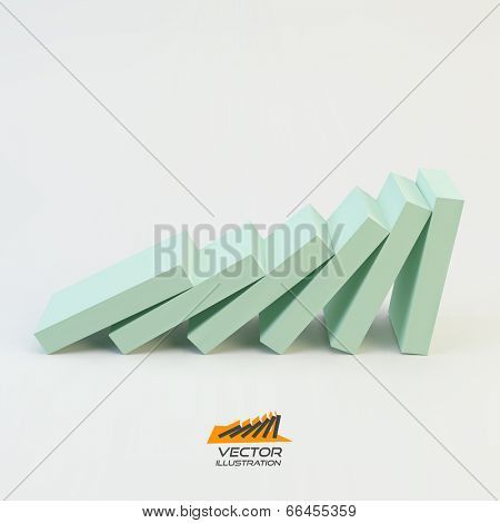 Domino effect concept. Business 3D concept illustration. Vector illustration.