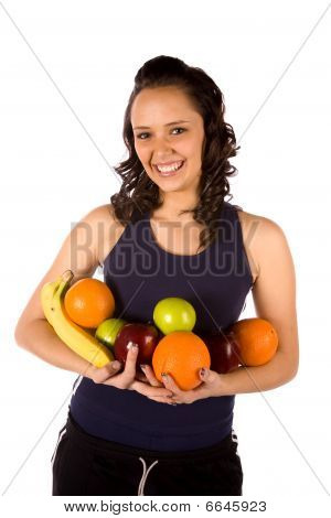 Armful Of Fruit Smiling