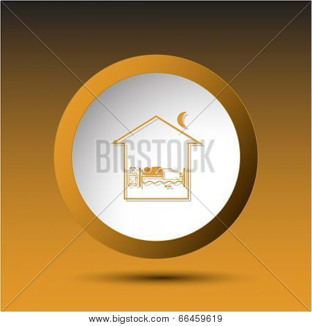Home bedroom. Plastic button. Vector illustration.
