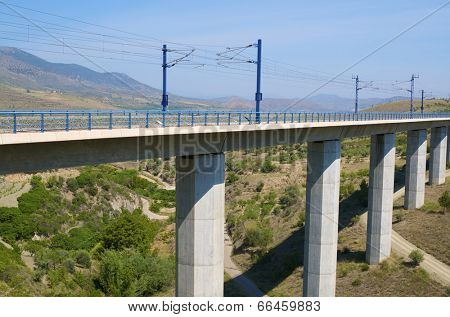 viaduct in Saragossa province, Aragon, Spain, AVE Madrid Barcelona.