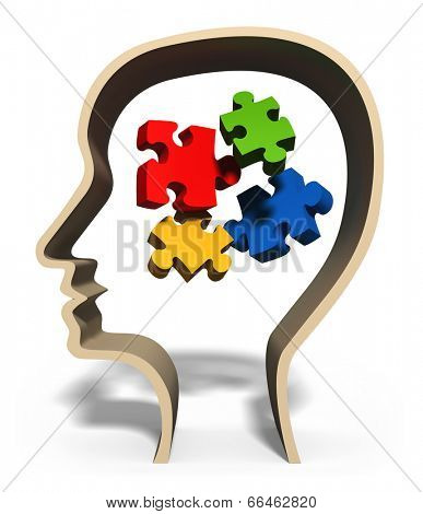 Head with jigsaw puzzle pieces in brain concept for problem solving, solution, problems or puzzled mind