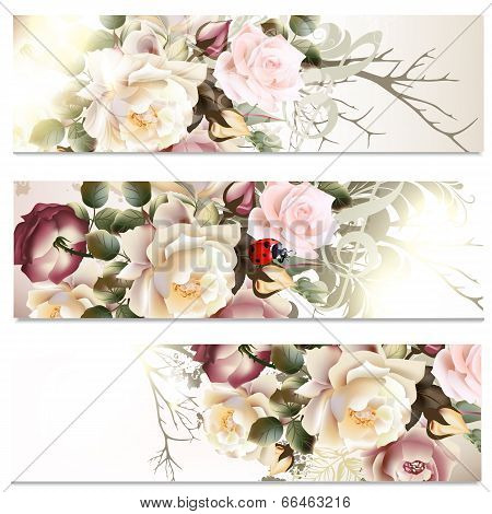 Business Cards Set In Floral Style With Roses