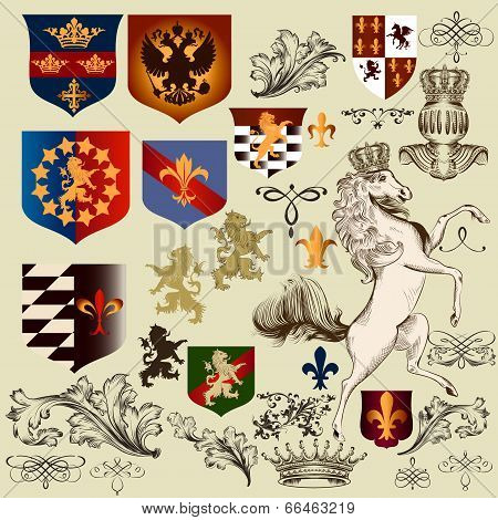 Collection Of  Vector Heraldic Decorative Elements Fleur De Lis, Shields And Animals