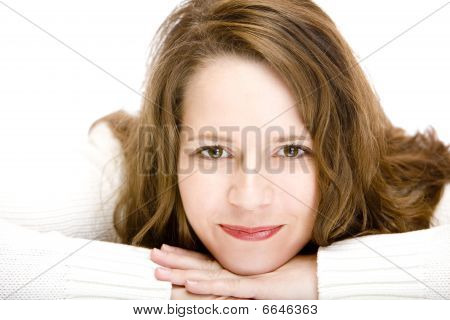 Portrait Of Happy Smiling Attractive Woman With Chin On Hands
