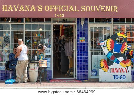 MIAMI,USA - MAY 19,2014 : Typical cuban souvenirs shop in Little Havana