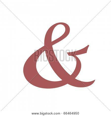 Custom ampersand. Hand drawn ampersand symbol for wedding invitation. Vector illustration