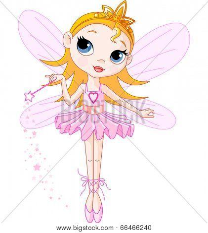 Little Cute fairy ballerina with magic wand. Raster version.