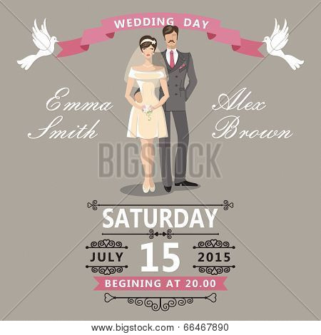 Cute  Cartoon Bride And Groom.wedding Invitation