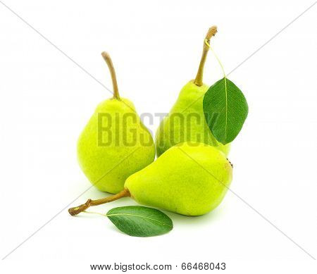 ripe fresh green pear with leaf isolated on white