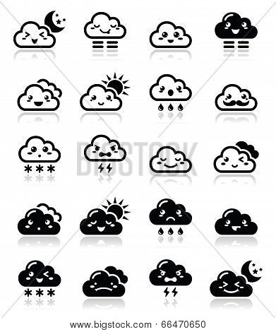 Cute cloud - Kawaii, Manga black icons with different expressions - happy, sad, angry